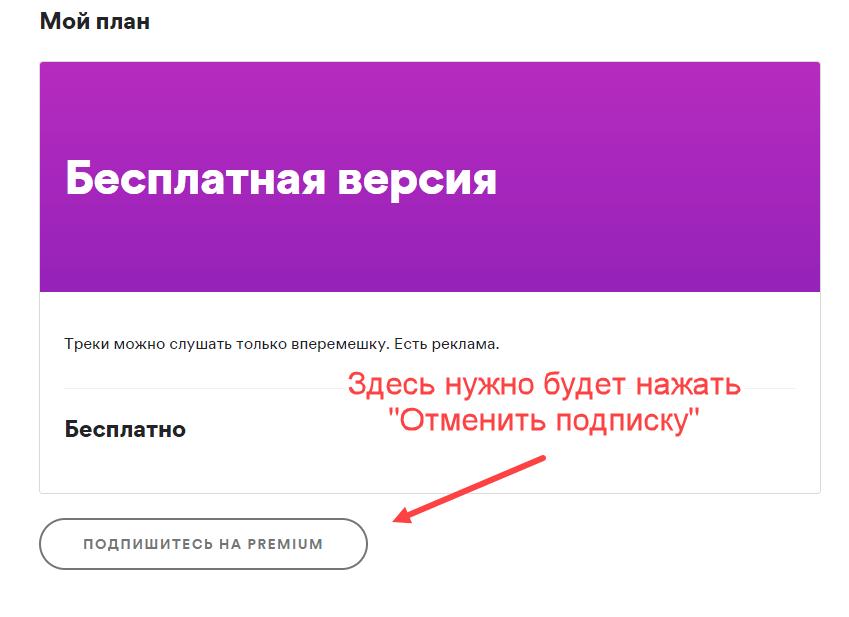 Как отменить подписку Спотифай - отключить с ПК и телефона